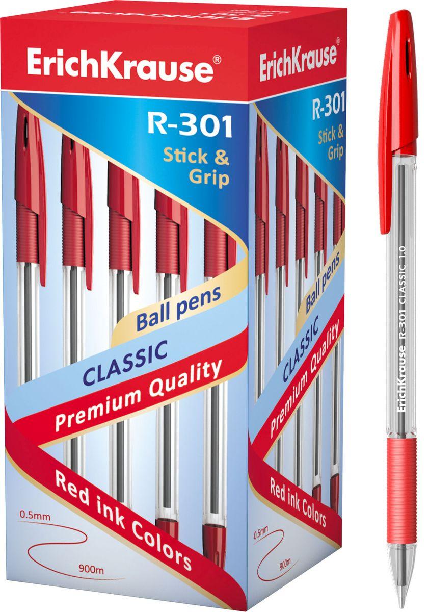 Erich Krause Ручка шариковая R-301 Classic 1.0 Stick&Grip красная43188Шариковая ручка в прозрачном корпусе с резиновым грипом. Цвет чернил-красный. Цвет вентилируемого колпачка соответствует цвету чернил. Пишущийузел 1. 0 мм. Толщина линии 0. 5 мм. Длина письма 800 м