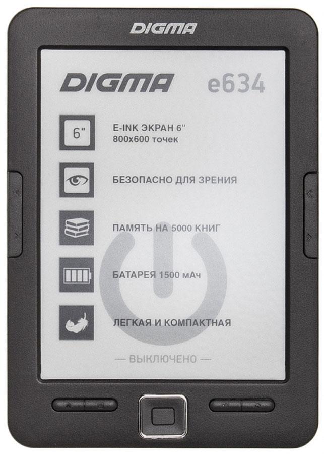 Digma E634, Black электронная книга электронная книга 6 digma s677 черный