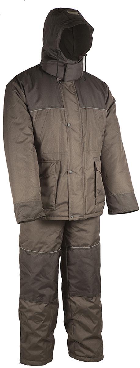 Костюм рыболовный мужской HUNTSMAN Полюс V: куртка, полукомбинезон, цвет: хаки. ps_100_v-521. Размер 56/58, рост 182ps_100_v-521Зимний костюм для рыбалки и отдыха Полюс-V от Huntsman состоит из куртки и полукомбинезона. Ткань костюма не продувается ветром, не промокает под сильным дождем. На куртке регулируемый капюшон с козырьком внутри отделан флисом, так же как и воротник-стойка. Надежная двухзамковая молния скрыта под ветрозащитной планкой на кнопках. Куртка имеет два нагрудных кармана на молниях, два накладных кармана: вход сверху под клапаном, застегивается на кнопки; вход сбоку на молнии. Внутренний карман - на липучке. Внутренние трикотажные манжеты регулируются с поиощью липучек. Предусмотрена внутренняя кулиска по талии. Утеплитель - 450гр/кв.м. Полукомбинезон на регулируемых лямках спереди оснащен застежкой на двухзамковую молнию. Спинка утеплена флисом, боковые эластичные вставки регулируются молнией. Два боковых кармана расположены на брючинах. Два кармана на молнии - на талии. На брюках предусмотрен карман под наколенник с застежкой, чтобы удобно было ползать на коленях, например по льду на рыбалке. Регулировка ширины низа брюк. Утеплитель - 300гр/кв.м.