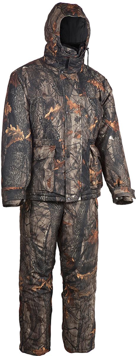 Костюм рыболовный мужской HUNTSMAN Памир: куртка, полукомбинезон, цвет: темный лес. pr_200-702. Размер 60/62, рост 188pr_200-702Зимний костюм Памир от Huntsman создан для рыбалки, охоты и активного отдыха на природе. Костюм состоит из куртки и полукомбинезона. Ткань костюма не продуваемая, непромокаемая, не теряет своих свойств при низких температурах (до -45°С). Материал не шуршит.Куртка с регулируемым капюшоном, внутри утепленным флисом, так же как и воротник-стойка, застегивается на молнию и кнопки. Воротник из искусственного меха можно отстегнуть. Надежная двухзамковая застежка-молния расположена под ветрозащитной планкой. Куртка имеет два нагрудных кармана на молниях и два накладных кармана: вход сверху под клапаном, застегивается на кнопки; вход сбоку на молнии. Также имеются два внутренних кармана, один из которых на липучке, другой - на молнии. Внутренние трикотажные манжеты регулируются контактной лентой. Предусмотрена внутренняя кулиска на талии.Куртка на утеплителе Radotex- 450 гр/кв.м.Полукомбинезон на регулируемых лямках застегивается на двухзамковую застежку-молнию. Спинка утеплена флисом, боковые эластичные вставки регулируются молнией. На брючинах расположены боковые карманы. Предусмотрена регулировка ширины низа брюк. Утеплитель полукомбинезона Radotex - 300 гр/кв.м.