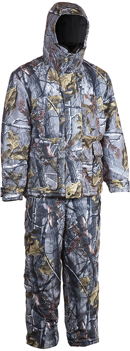 Костюм рыболовный мужской HUNTSMAN Памир: куртка, полукомбинезон, цвет: серый лес. pr_200-093. Размер 44/46, рост 170pr_200-093Зимний костюм Памир от Huntsman создан для рыбалки, охоты и активного отдыха на природе. Костюм состоит из куртки и полукомбинезона. Ткань костюма не продуваемая, непромокаемая, не теряет своих свойств при низких температурах (до -45°С). Материал не шуршит.Куртка с регулируемым капюшоном, внутри утепленным флисом, так же как и воротник-стойка, застегивается на молнию и кнопки. Воротник из искусственного меха можно отстегнуть. Надежная двухзамковая застежка-молния расположена под ветрозащитной планкой. Куртка имеет два нагрудных кармана на молниях и два накладных кармана: вход сверху под клапаном, застегивается на кнопки; вход сбоку на молнии. Также имеются два внутренних кармана, один из которых на липучке, другой - на молнии. Внутренние трикотажные манжеты регулируются контактной лентой. Предусмотрена внутренняя кулиска на талии.Куртка на утеплителе Radotex- 450 гр/кв.м.Полукомбинезон на регулируемых лямках застегивается на двухзамковую застежку-молнию. Спинка утеплена флисом, боковые эластичные вставки регулируются молнией. На брючинах расположены боковые карманы. Предусмотрена регулировка ширины низа брюк. Утеплитель полукомбинезона Radotex - 300 гр/кв.м.