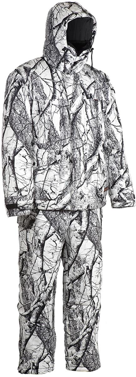 Костюм рыболовный мужской HUNTSMAN Памир, цвет: белый лес. pr_200-021. Размер 60/62, рост 188pr_200-021Зимний костюм Памир от Huntsman создан для рыбалки, охоты и активного отдыха на природе. Костюм состоит из куртки и полукомбинезона. Ткань костюма не продуваемая, непромокаемая, не теряет своих свойств при низких температурах( до -45°С). Материал не шуршит.Куртка с регулируемым капюшоном, внутри утепленным флисом, так же как и воротник-стойка, застегивается на молнию и кнопки. Воротник из искусственного меха можно отстегнуть. Надежная двухзамковая застежка-молния расположена под ветрозащитной планкой. Куртка имеет два нагрудных кармана на молниях и два накладных кармана: вход сверху под клапаном, застегивается на кнопки; вход сбоку на молнии. Также имеются два внутренних кармана, один из которых на липучке, другой - на молнии. Внутренние трикотажные манжеты регулируются контактной лентой. Предусмотрена внутренняя кулиска на талии.Куртка на утеплителе Radotex- 450гр/кв.м.Полукомбинезон на регулируемых лямках застегивается на двухзамковую застежку-молнию. Спинка утеплена флисом, боковые эластичные вставки регулируются молнией. На брючинах расположены боковые карманы. Предусмотрена регулировка ширины низа брюк. Утеплитель полукомбинезона Radotex - 300гр/кв.м.