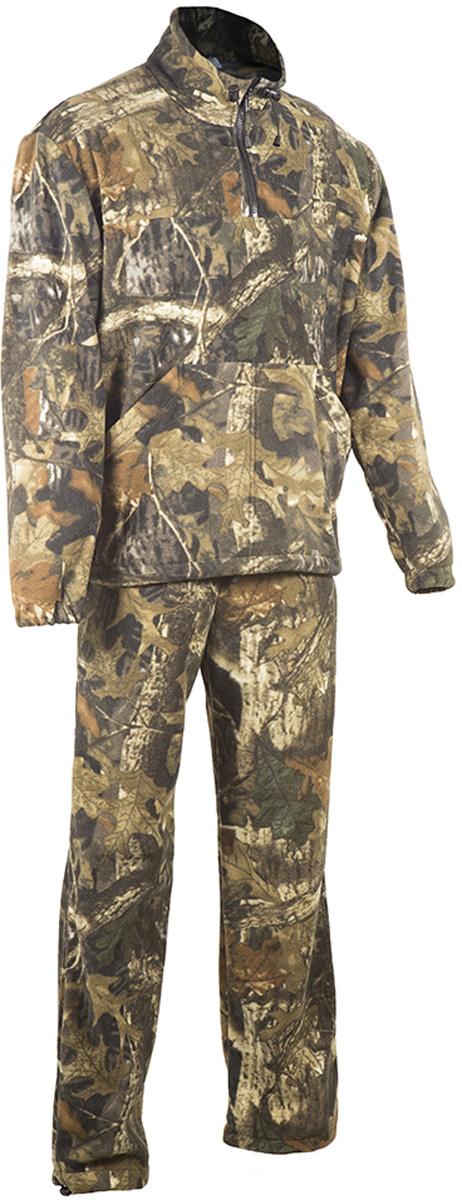 Костюм рыболовный мужской HUNTSMAN Пикник, цвет: лес. pc_200-026. Размер 60/62, рост 188pc_200-026Костюм рыболовный Пикник от Huntsman состоит из куртки и брюк, выполненных из флисового материала (Polar Fleece 270 гр/м2). Куртка с воротником-стойкой на молнии до середины груди дополнена двумя накладными карманами. Брюки прямого кроя на поясе с резинкой и шнуром дополнены утяжками по низу брючин.