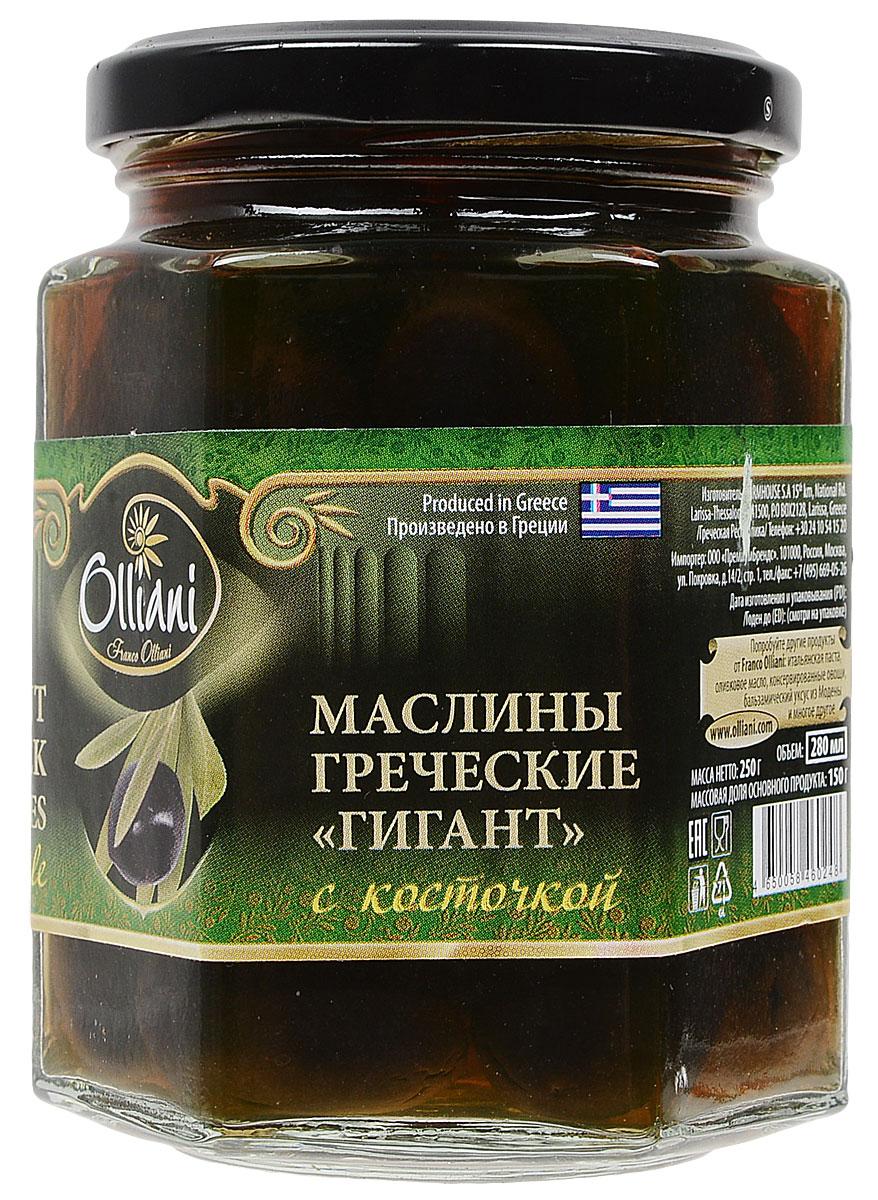 Olliani маслины гигант консервированные с косточкой, 280 мл delphi маслины с косточкой натуральные в рассоле 350 г