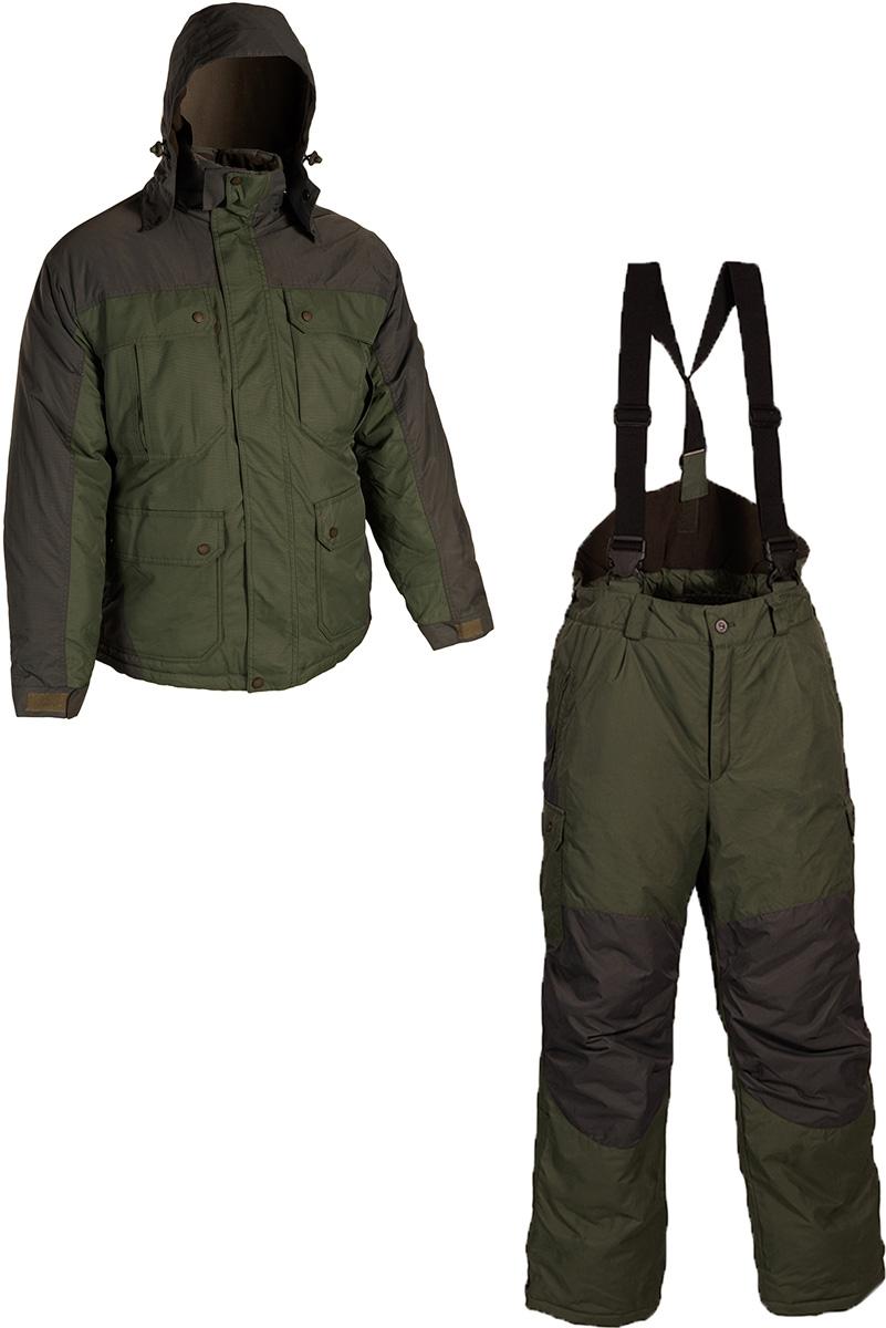 Костюм рыболовный мужской HUNTSMAN Канада: куртка, брюки, цвет: хаки, графит. kn_100-020. Размер 60/62, рост 188kn_100-020Зимний рыболовный костюм Канада из новой линейки Huntsman - подойдет не только для охоты и рыбалки, но и для повседневной носки в городе, благодаря нейтральной расцветке и универсальному крою. Легкий, и в то же время очень теплый костюм, не шуршит на морозе, не продувается. Вы будете чувствовать себя сухо и комфортно вплоть до -28°С. Костюм состоит из куртки и брюк. Куртка с отстегивающимся капюшоном с плотным козырьком, с фиксатором и утяжками, застегивается на молнию и ветрозащитную планку на кнопках. Спинка и полочки утеплены флисовым материалом. Рукава оснащены внутренними трикотажными манжетами, а внешние манжеты регулируются с помощью липучки. Куртка дополнена двумя нагрудными и двумя боковыми карманами, отделанными флисом, с клапанами на кнопках и входами сверху и сбоку. Также предусмотрен внутренний карман. Брюки с регулируемыми отстегивающимися лямками имеют укороченную спинку, которая переходит в резинку по талии со шлевками под ремень. Дополнительный комфорт обеспечивается за счет объема в области колена, а также регулировке ширины низа брючин на молнии. Брюки имеют два прорезных кармана на молнии сбоку и два накладных объемных кармана с клапаном на липучке, расположенные на брючинах.