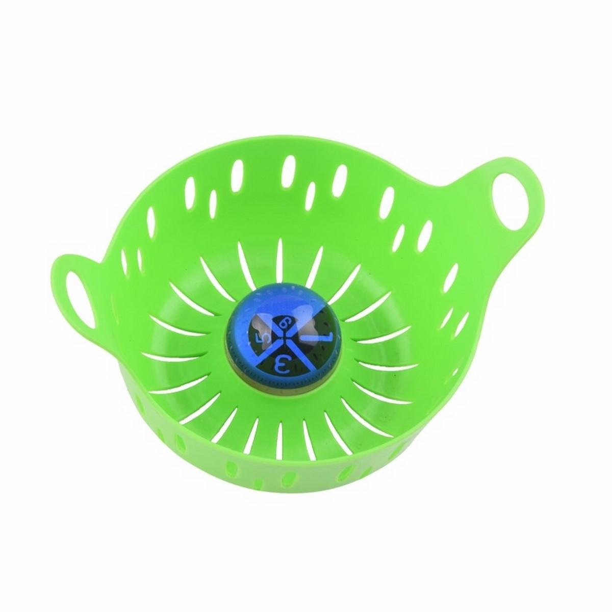 Корзинка для варки яиц Ругес Луко, с индикатором , цвет: зеленыйK-6Варка яиц процесс вроде бы простейший, но! Аккуратно разместить яйца, засечь время, уследить за минутами, извлечь из кипятка. Мы стараемся не замечать этих сложностей, потому что воспринимаем их как неизбежность. Корзина для варки яиц с таймером Луко легко убирает все сопутствующие хлопоты из нашей жизни! Вы кладете яйца в корзину, за удобные ручки ставите в холодную воду и достаете из горячей, а встроенный таймер наглядно демонстрирует время варки. Сектора на таймере предусмотрены для одной, трех, шести и девяти минут. Выбирайте нужную степень готовности и не следите за временем! Диаметр: 15,5 см. Вес: 128 гр. Шкала: 1, 3, 6, 9 минут. Вмещает до 6 яиц одновременно. Инструкция на русском языке.