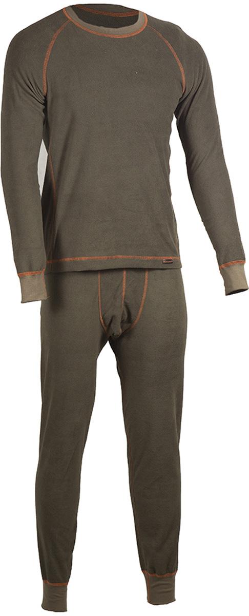 Комплект термобелья мужской HUNTSMAN: брюки, кофта, цвет: хаки. h_100-521. Размер L (48/50), рост 176h_100-521Мужское термобелье ThermoLine от Huntsman второго слоя предназначено для использования в критически низких температурах до - 40°С. Комплект состоит из кофты с длинным рукавом и брюк, выполненных из флиса. Материал удерживает до 85% полезного тепла, гипоаллергенен. Уникальная технология без внутреннего шва обеспечивает комфортную носку. Комплект позволяет сократить вес экипировки до 30%. Использование термобелья наиболее эффективно с термобельем первого слоя и мембранными костюмами.