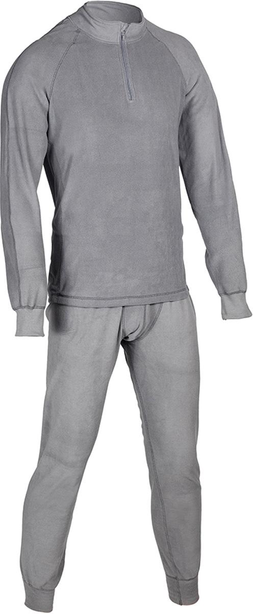 Комплект термобелья мужской HUNTSMAN ZIP: брюки, кофта, цвет: серый. h_100_zip-974. Размер XXL (56/58), рост 182h_100_zip-974Термобелье ThermoLine ZIP от Huntsman второго слоя предназначено для использования в критически низких температурах до - 40°С. Комплект состоит из кофты с длинным рукавом и брюк, выполненных из микрофлиса. Кофта с воротником-стойкой дополнена застежкой на молнию. Материал удерживает до 85% полезного тепла, гипоаллергенен. Уникальная технология без внутреннего шва обеспечивает комфортную носку. Термобелье позволяет сократить вес экипировки до 30%. Использование термобелья наиболее эффективно с термобельем первого слоя и мембранными костюмами.