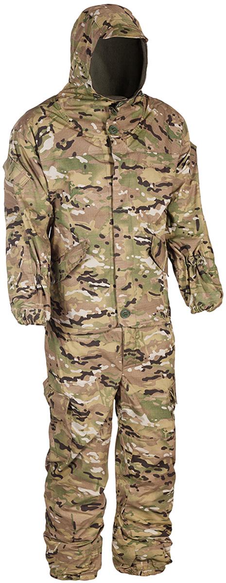 Костюм рыболовный мужской HUNTSMAN Горка-V: куртка, брюки, цвет: мультикам. grs_102-031. Размер 52/54, рост 182grs_102-031Костюм Горка-V от Huntsman штурмовой демисезонный состоит из куртки и брюк на лямках. Изделия выполнены из ткани Палатка с вставками из ткани Грета, в качестве утеплителя используется флис. Комфортная температура до -5°С, предназначен для ведения активных действий. Куртка свободного кроя с регулируемым капюшоном с козырьком, застегивается на молнию и ветрозащитную планку на пуговицах. Крепление пуговиц усилено киперной лентой. Изделие оснащено 11 карманами. Манжеты рукавов на резинке, предусмотрено усиление на локтях. По нижнему краю предусмотрена утяжка со стопперами.Брюки прямого кроя с широким поясом на резинке дополнены шлевками под ремень. Брюки имеют отстегивающиеся подтяжки, выполненные из широкой резинки. Для наибольшего комфорта предусмотрена регулировка ширины низа брюк, внутри по низу вставка из ткани (бязь), резинка в области голени для наилучшего прилегания к ноге. Изделие имеет два кармана сзади с клапаном на пуговице, два прорезных кармана сбоку и два накладных объемных кармана с клапаном на пуговице по низу брючины.