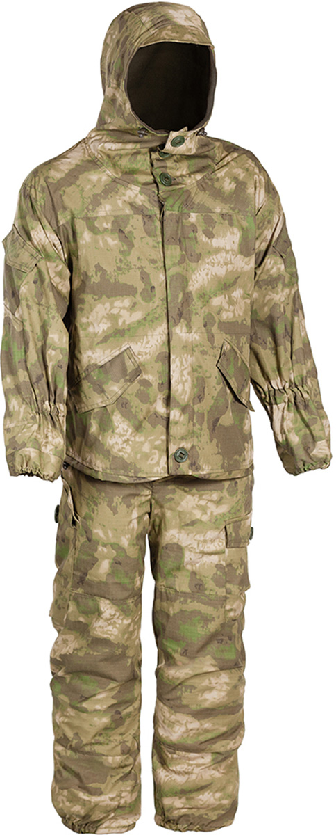 Костюм рыболовный мужской HUNTSMAN Горка-V: куртка, брюки, цвет: малахит. grs_102-030. Размер 60/62, рост 188grs_102-030Костюм Горка-V от Huntsman штурмовой демисезонный состоит из куртки и брюк на лямках. Изделия выполнены из ткани Палатка с вставками из ткани Грета, в качестве утеплителя используется флис. Комфортная температура до -5°С, предназначен для ведения активных действий. Куртка свободного кроя с регулируемым капюшоном с козырьком, застегивается на молнию и ветрозащитную планку на пуговицах. Крепление пуговиц усилено киперной лентой. Изделие оснащено 11 карманами. Манжеты рукавов на резинке, предусмотрено усиление на локтях. По нижнему краю предусмотрена утяжка со стопперами.Брюки прямого кроя с широким поясом на резинке дополнены шлевками под ремень. Брюки имеют отстегивающиеся подтяжки, выполненные из широкой резинки. Для наибольшего комфорта предусмотрена регулировка ширины низа брюк, внутри по низу вставка из ткани (бязь), резинка в области голени для наилучшего прилегания к ноге. Изделие имеет два кармана сзади с клапаном на пуговице, два прорезных кармана сбоку и два накладных объемных кармана с клапаном на пуговице по низу брючины.