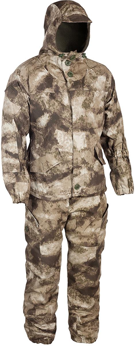 Костюм рыболовный мужской HUNTSMAN Горка-V: куртка, брюки, цвет: туман. grs_102-018. Размер 44/46, рост 170grs_102-018Костюм Горка-V от Huntsman штурмовой демисезонный состоит из куртки и брюк на лямках. Изделия выполнены из ткани Палатка с вставками из ткани Грета, в качестве утеплителя используется флис. Комфортная температура до -5°С, предназначен для ведения активных действий. Куртка свободного кроя с регулируемым капюшоном с козырьком, застегивается на молнию и ветрозащитную планку на пуговицах. Крепление пуговиц усилено киперной лентой. Изделие оснащено 11 карманами. Манжеты рукавов на резинке, предусмотрено усиление на локтях. По нижнему краю предусмотрена утяжка со стопперами.Брюки прямого кроя с широким поясом на резинке дополнены шлевками под ремень. Брюки имеют отстегивающиеся подтяжки, выполненные из широкой резинки. Для наибольшего комфорта предусмотрена регулировка ширины низа брюк, внутри по низу вставка из ткани (бязь), резинка в области голени для наилучшего прилегания к ноге. Изделие имеет два кармана сзади с клапаном на пуговице, два прорезных кармана сбоку и два накладных объемных кармана с клапаном на пуговице по низу брючины.