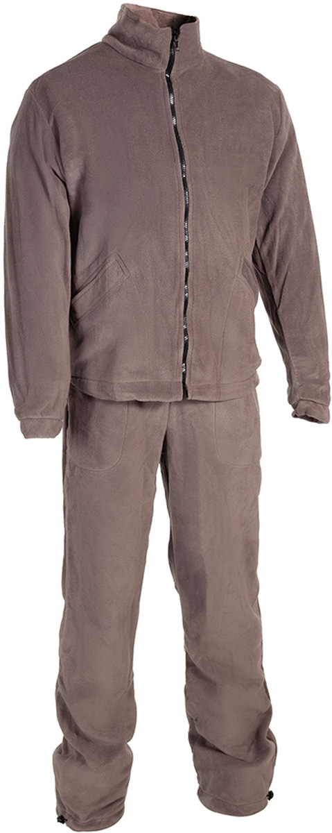 Костюм рыболовный мужской HUNTSMAN Байкал: куртка, брюки, цвет: серый. bl_200-974. Размер 48/50, рост 176bl_200-974Мужской рыболовный костюм Байкал от Huntsman выполнен из высококачественного флиса. Материал очень комфортный и мягкий. Костюм состоит из куртки и брюк.Куртка с воротником-стойкой и длинными рукавами застегивается на молнию, по низу предусмотрена утяжка. Изделие дополнено двумя боковыми карманами.Брюки прямого кроя, на поясе с резинкой и шнуром, оснащены двумя карманами. По низу брючины также дополнены утяжками. Костюм прекрасно подойдет для повседневной носки, а также в качестве термобелья под любой зимний или демисезонный костюм в холодную погоду.