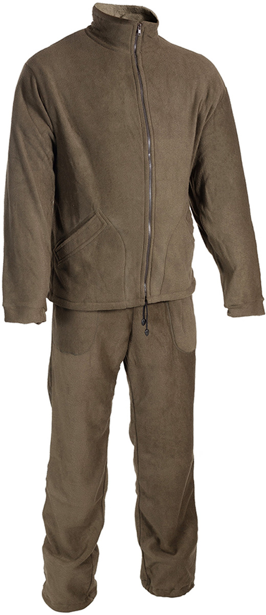 Костюм рыболовный мужской HUNTSMAN Байкал: куртка, брюки, цвет: хаки. bl_200-521. Размер 60/62, рост 188bl_200-521Мужской рыболовный костюм Байкал от Huntsman выполнен из высококачественного флиса. Материал очень комфортный и мягкий. Костюм состоит из куртки и брюк.Куртка с воротником-стойкой и длинными рукавами застегивается на молнию, по низу предусмотрена утяжка. Изделие дополнено двумя боковыми карманами.Брюки прямого кроя, на поясе с резинкой и шнуром, оснащены двумя карманами. По низу брючины также дополнены утяжками. Костюм прекрасно подойдет для повседневной носки, а также в качестве термобелья под любой зимний или демисезонный костюм в холодную погоду.