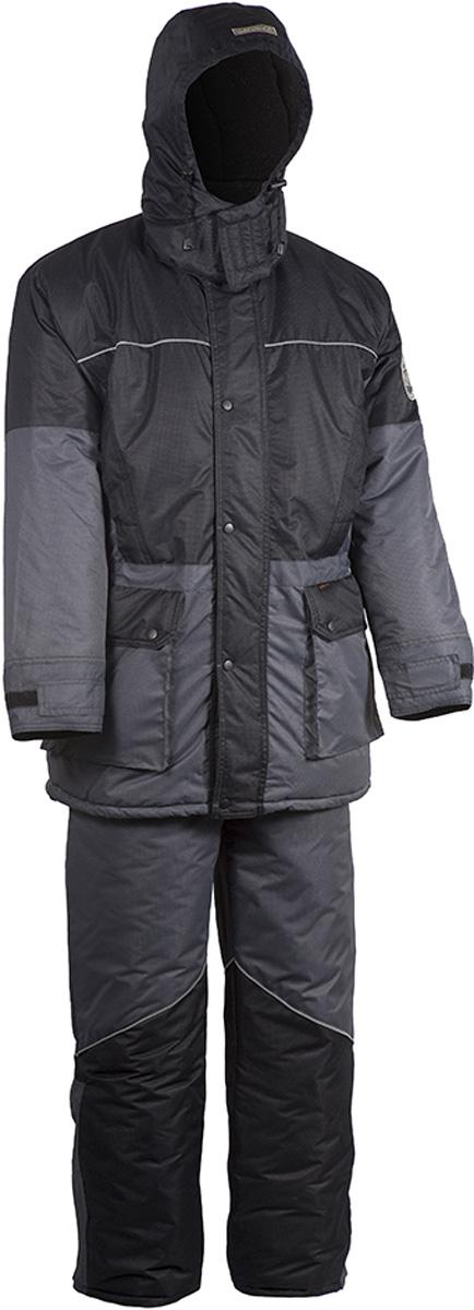 Костюм рыболовный мужской HUNTSMAN Арктика: куртка, полукомбинезон, цвет: серый, черный. ark_100-976. Размер 56/58, рост 182ark_100-976Зимний костюм Арктика от Huntsman создан для рыбалки, охоты и активного отдыха на природе. Костюм состоит из куртки и полукомбинезона. Ткань костюма не продувается ветром, не промокает под сильным дождем, не теряет своих свойств при низких температурах (до -40°С), не шуршит. На куртке регулируемый капюшон внутри отделан флисом, так же как и воротник-стойка. Надежная двухзамковая молния скрыта под ветрозащитной планкой с кнопками. Один внутренний карман на липучке, два прорезных нагрудных кармана, два накладных кармана на молнии, защищенных клапаном на кнопке. Внутренние трикотажные манжеты регулируются контактной лентой. На талии расположена внутренняя кулиска. Изделие прошито светоотражающим кантом. Утеплитель - 450гр/кв.м.Полукомбинезон на регулируемых лямках с застежкой на двухзамковую молнию. Спинка утеплена флисом, боковые эластичные вставки регулируются молнией. Два боковых кармана расположены на брючинах. Регулировка ширины низа брюк. Светоотражающий кант. Утеплитель - 300гр/кв.м.
