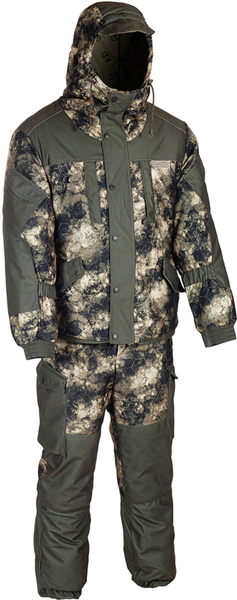 Костюм рыболовный мужской HUNTSMAN Ангара, цвет: хаки, коричневый, черный. an_100-22. Размер 60/62, рост 188an_100-22Костюм зимний Ангара от Huntsman состоит из куртки и полукомбинезона. Изделия выполнены из плотного непромокаемого материала Алова-мембрана с утеплителем Radotex (куртка 200 гр/м2, брюки 150 гр/м2) и флисовой подкладкой в области спинки и полочек. Куртка свободного кроя с капюшоном на утяжках и козырьком. Застегивается на двухзамковую молнию и ветрозащитную планку на кнопках. Предусмотрена резинка в области талии. Куртка имеет 7 функциональных карманов. Полукомбинезон на подтяжках с поясом на резинке, дополненным шлевками под ремень. Предусмотрено 6 карманов. Дополнительно полукомбинезон оснащен снегозащитными гетрами.