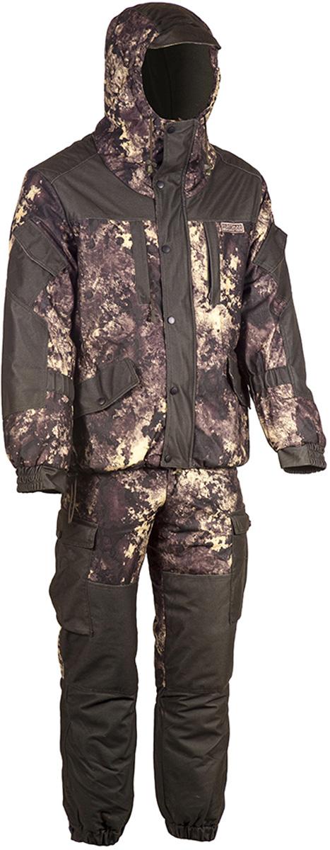 Костюм рыболовный мужской HUNTSMAN Ангара: куртка, полукомбинезон, цвет: хаки, коричневый. an_100-17. Размер 48/50, рост 176an_100-17Костюм зимний Ангара от Huntsman состоит из куртки и полукомбинезона. Изделия выполнены из плотного непромокаемого материала Алова-мембрана с утеплителем Radotex (куртка 200 гр/м2, брюки 150 гр/м2) и флисовой подкладкой в области спинки и полочек.Куртка свободного кроя с капюшоном на утяжках и козырьком. Застегивается на двухзамковую молнию и ветрозащитную планку на кнопках. Предусмотрена резинка в области талии. Куртка имеет 7 функциональных карманов. Полукомбинезон на подтяжках с поясом на резинке, дополненным шлевками под ремень. Предусмотрено 6 карманов. Дополнительно полукомбинезон оснащен снегозащитными гетрами.Для размера 52/54, рост 182: длина брюк по внутреннему шву - 750, обхват талии минимальный - 76 см, длина рукава - 63 см.