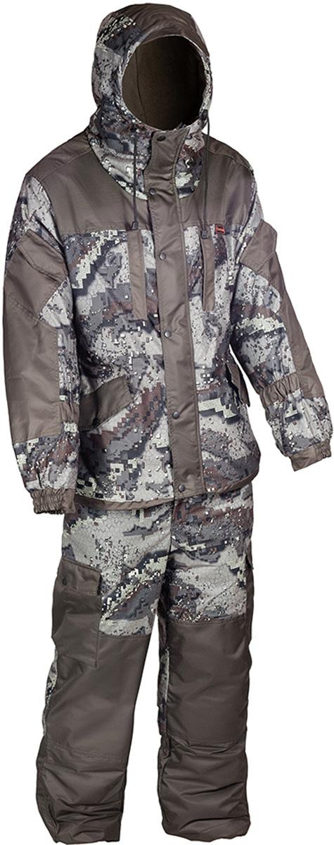 Костюм рыболовный мужской HUNTSMAN Ангара: куртка, полукомбинезон, цвет: хаки, серый. an_100-036. Размер 56/58, рост 182an_100-036Костюм зимний Ангара от Huntsman состоит из куртки и полукомбинезона. Изделия выполнены из плотного непромокаемого материала Алова-мембрана с утеплителем Radotex (куртка 200 гр/м2, брюки 150 гр/м2) и флисовой подкладкой в области спинки и полочек.Куртка свободного кроя с капюшоном на утяжках и козырьком. Застегивается на двухзамковую молнию и ветрозащитную планку на кнопках. Предусмотрена резинка в области талии. Куртка имеет 7 функциональных карманов. Полукомбинезон на подтяжках с поясом на резинке, дополненным шлевками под ремень. Предусмотрено 6 карманов. Дополнительно полукомбинезон оснащен снегозащитными гетрами.Для размера 52/54, рост 182: длина брюк по внутреннему шву - 750, обхват талии минимальный - 76 см, длина рукава - 63 см.
