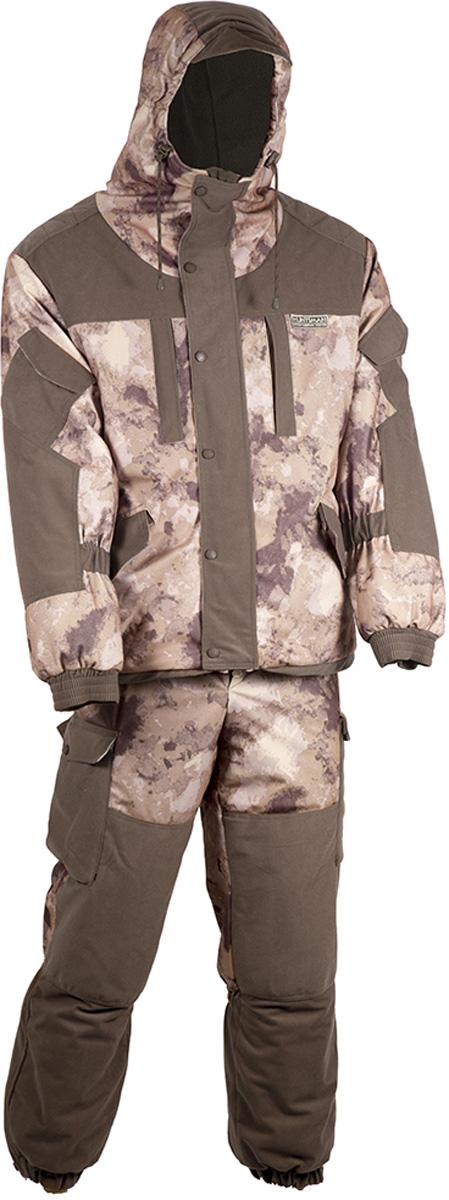 Костюм рыболовный мужской HUNTSMAN Ангара: куртка, полукомбинезон, цвет: туман. an_100-018. Размер 52/54, рост 182an_100-018Костюм зимний Ангара от Huntsman состоит из куртки и полукомбинезона. Изделия выполнены из плотного непромокаемого материала Алова-мембрана с утеплителем Radotex (куртка 200 гр/м2, брюки 150 гр/м2) и флисовой подкладкой в области спинки и полочек.Куртка свободного кроя с капюшоном на утяжках и козырьком. Застегивается на двухзамковую молнию и ветрозащитную планку на кнопках. Предусмотрена резинка в области талии. Куртка имеет 7 функциональных карманов. Полукомбинезон на подтяжках с поясом на резинке, дополненным шлевками под ремень. Предусмотрено 6 карманов. Дополнительно полукомбинезон оснащен снегозащитными гетрами.Для размера 52/54, рост 182: длина брюк по внутреннему шву - 750, обхват талии минимальный - 76 см, длина рукава - 63 см.