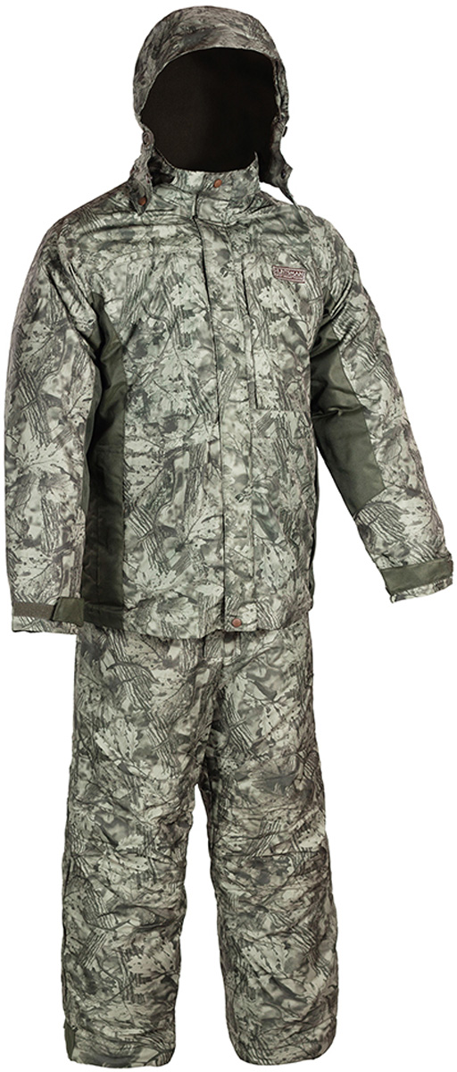 Костюм рыболовный мужской HUNTSMAN Амур: куртка, полукомбинезон, цвет: болотный. am_100-016. Размер 48/50, рост 176am_100-016Костюм-тройка рыболовный зимний Амур от Huntsman состоит из верхней куртки (ветровки), съемной утепленной куртки и полукомбинезона. Материал верха - Taslan Dobby, съемная куртка - Dewspo. Подкладка в верхней куртке (спинка и полочки) выполнена из фланели, подкладка в съемной куртке (спинка и полочки) - флис. Утеплитель Radotex: съемная куртка 300 гр/м2, полукомбинезон - 200 гр/м2. Верхняя куртка с застежкой на молнию и двумя ветрозащитными планками дополнена воротником-стойкой и съемным регулирующимся капюшоном. Низ куртки регулируется кулиской. Спинка и полочки с кокетками, отрезными бочками и рукавами рубашечного типа. Спереди предусмотрены нагрудные прорезные карманы на молниях и боковые прорезные карманы также на молниях. Ширина рукава по низу регулируется патой, застегивающейся на контактную ленту. Рукава дополнены внутренними трикотажными манжетами. Внутренняя стеганая куртка служит утеплителем, делая костюм более теплым. Изделие пристегивается к верхней куртке с помощью молнии с перекидным бегунком. Модель с воротником-стойкой дополнена карманами на молниях. Полукомбинезон на регулируемых лямках застегивается спереди на застежку-молнию, закрытую ветрозащитной планкой. Имеются прорезные карманы на молниях. По низу ширина брюк регулируется с помощью молнии и паты на контактной ленте. Спинка изделия утеплена флисом.
