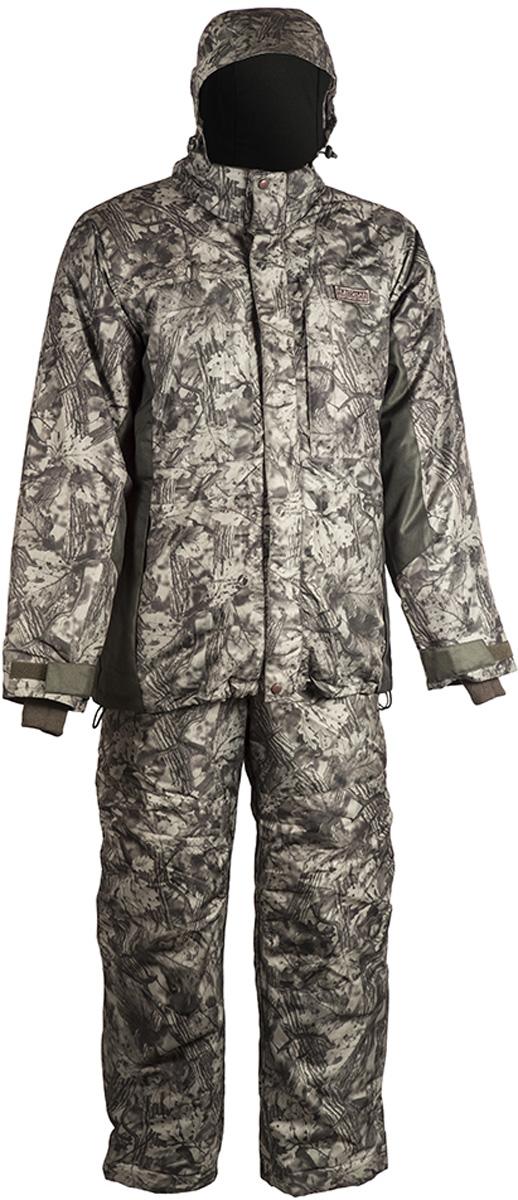 Костюм рыболовный мужской HUNTSMAN Амур: куртка, полукомбинезон, цвет: антрацит. am_100-015. Размер 60/62, рост 188am_100-015Костюм-тройка рыболовный зимний Амур от Huntsman состоит из верхней куртки (ветровки), съемной утепленной куртки и полукомбинезона. Материал верха - Taslan Dobby, съемная куртка - Dewspo. Подкладка в верхней куртке (спинка и полочки) выполнена из фланели, подкладка в съемной куртке (спинка и полочки) - флис. Утеплитель Radotex: съемная куртка 300 гр/м2, полукомбинезон - 200 гр/м2. Верхняя куртка с застежкой на молнию и двумя ветрозащитными планками дополнена воротником-стойкой и съемным регулирующимся капюшоном. Низ куртки регулируется кулиской. Спинка и полочки с кокетками, отрезными бочками и рукавами рубашечного типа. Спереди предусмотрены нагрудные прорезные карманы на молниях и боковые прорезные карманы также на молниях. Ширина рукава по низу регулируется патой, застегивающейся на контактную ленту. Рукава дополнены внутренними трикотажными манжетами. Внутренняя стеганая куртка служит утеплителем, делая костюм более теплым. Изделие пристегивается к верхней куртке с помощью молнии с перекидным бегунком. Модель с воротником-стойкой дополнена карманами на молниях. Полукомбинезон на регулируемых лямках застегивается спереди на застежку-молнию, закрытую ветрозащитной планкой. Имеются прорезные карманы на молниях. По низу ширина брюк регулируется с помощью молнии и паты на контактной ленте. Спинка изделия утеплена флисом.