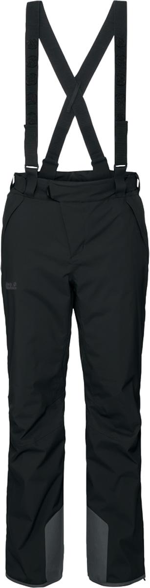 Брюки утепленные мужские Jack Wolfskin Exolight Pants, цвет: черный. 1109501. Размер 561109501Мужские утепленные брюки Jack Wolfskin выполнены их полиэстера. Особый наружный материал защищает вас от мокрого снега и холодных ветров. Эластичность ткани обеспечивает полную свободу движения. В брюках используется износостойкий синтетический утеплитель. Он абсолютно невосприимчив к влаге и эффективно сохраняет тепло. Модель прямого кроя, застегивается на ремешок с липучкой по поясу и имеет ширинку на застежке-молнии. Изделие имеет два кармана на бедрах, карман для горнолыжного абонемента, съемные подтяжки, интегрированные гамаши. Брюки регулируются в объеме талии и в области лодыжек.