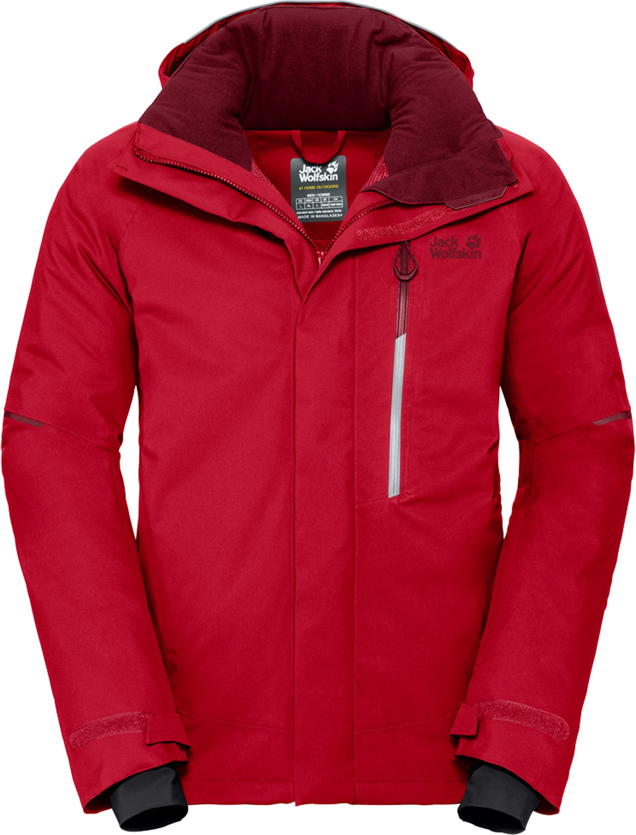 Куртка мужская Jack Wolfskin Exolight Icy Jacket, цвет: красный. 1109731. Размер XXL (54)1109731Модная мужская куртка Jack Wolfskin изготовлена из ветронепроницаемой дышащей ткани - высококачественного полиэстера с синтетическим утеплителем. Несмотря на свою невероятную легкость, инновационный синтетический утеплитель эффективно согреет вас даже в условиях арктического холода. А специальный внешний слой из материала обеспечит максимальную защиту от снега, ветра и дождя. Модель с воротником стойка, капюшоном и длинными рукавами застегивается на молнию. Изделие имеет, вентиляционные молнии в подмышечной области, карман для горнолыжного абонемента, плотно облегающие эластичные манжеты, съемная снежная юбка, соединительные петли для совместимых брюк, система RECCO.