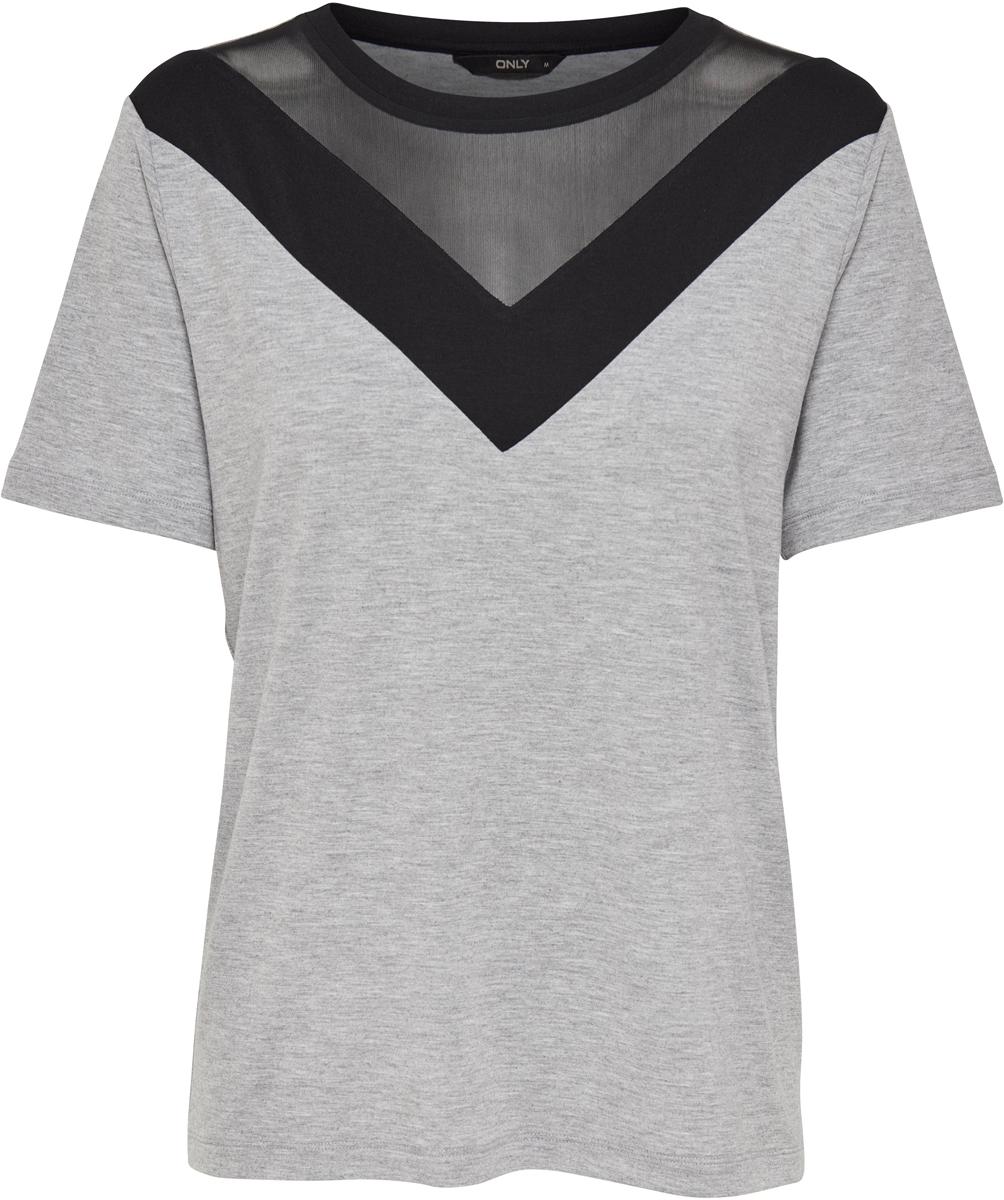 Футболка женская Only, цвет: серый. 15152320_Light Grey Melange. Размер M (46) only парка женская