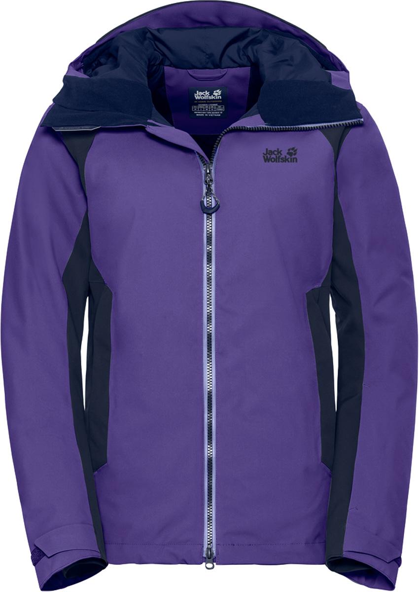 Куртка женская Jack Wolfskin Exolight Base Jacket, цвет: фиолетовый. 1109741. Размер M (48)1109741Эластичная спортивная зимняя куртка из дышащего материала с синтетическим утеплителем. Ваше единственное желание с началом зимы - отправиться в горы и наслаждаться снегом. При спуске с горы, в походе по бездорожью или на снегоступах, универсальная куртка модели EXOLIGHT BASE (ЭКЗОЛАЙТ БЕЙС) достойно справится с любыми испытаниями.Несмотря на свою невероятную легкость, наш инновационный синтетический утеплитель MICROGUARD MAXLOFT (МАЙКРОГАРД МАКСЛОФТ) эффективно согреет вас даже в условиях арктического холода. А специальный внешний слой из материала TEXAPORE SNOW (ТЕКСАПОР СНОУ) обеспечит максимально возможную для данного класса материалов защиту от снега, ветра и дождя.Мы разработали эту прочную хардшелл ткань специально для занятий экстремальными видами спорта. Ткань эластична в разных направлениях и приятно-мягкая на ощупь. Когда вы активно двигаетесь по снегу, вам в какой-то момент обязательно станет жарко. Поэтому мы предусмотрели вентиляцию на молнии в подмышечной области для мгновенного притока свежего воздуха во время движения.И, конечно же, мы не смогли обойтись без кармашка для горнолыжного абонемента, снежной юбки, датчика RECCO, а также специальных соединительных петель, позволяющих пристегнуть куртку к подходящим горнолыжным брюкам.