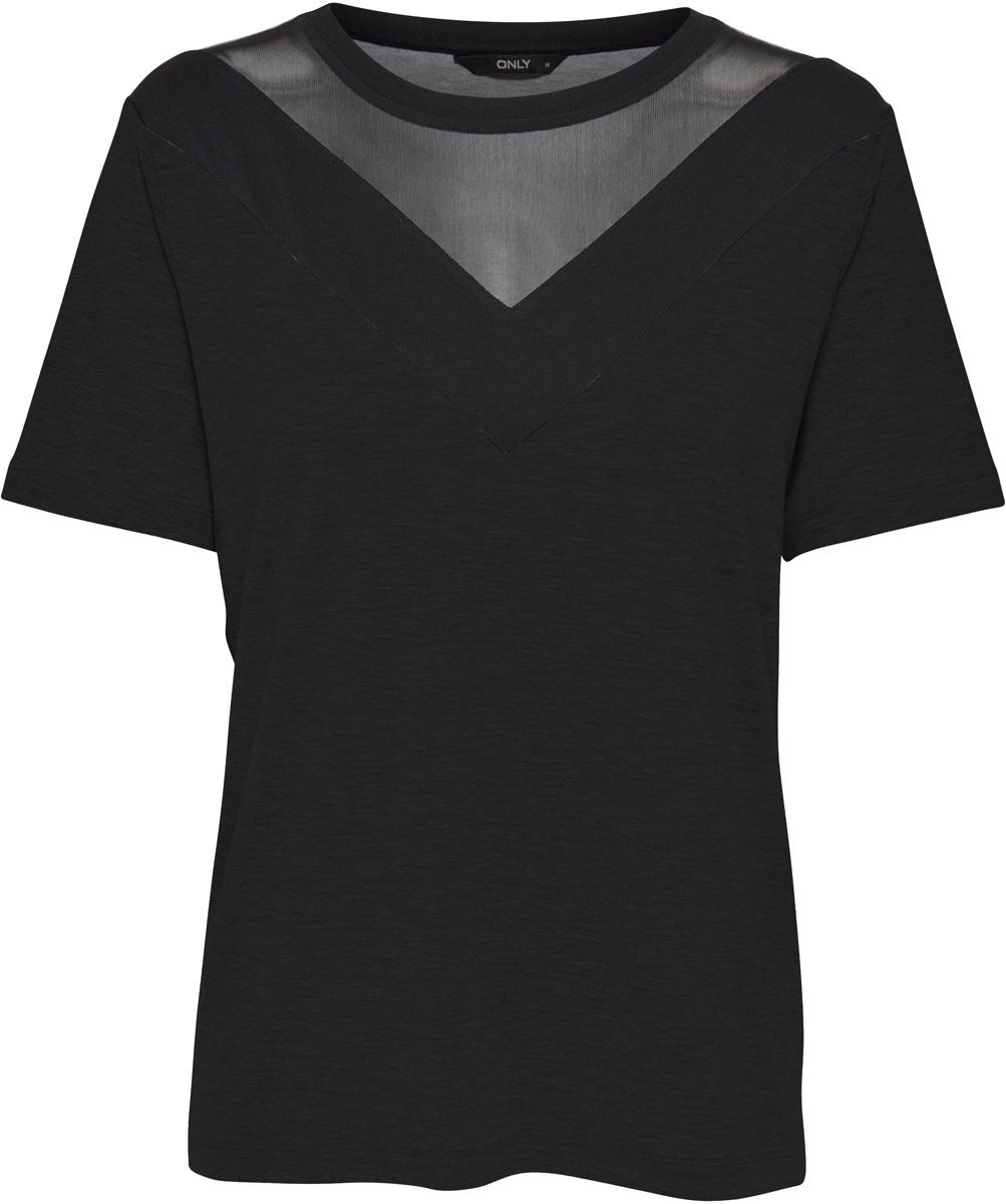 Футболка женская Only, цвет: черный. 15152320_Black. Размер M (46) only парка женская