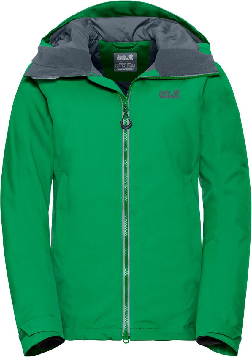 Куртка женская Jack Wolfskin Exolight Base Jacket, цвет: зеленый. 1109741. Размер L (50)1109741Модная женская куртка Jack Wolfskin изготовлена из ветронепроницаемой дышащей ткани - высококачественного полиэстера с синтетическим утеплителем. Несмотря на свою невероятную легкость, инновационный синтетический утеплитель эффективно согреет вас даже в условиях арктического холода. А специальный внешний слой из материала обеспечит максимальную защиту от снега, ветра и дождя. Модель с воротником стойка, капюшоном и длинными рукавами застегивается на молнию. Изделие имеет вентиляцию на молнии в подмышечной области, двумя врезными карманами, кармашком для горнолыжного абонемента, снежную юбку, датчик RECCO, а также специальные соединительные петли, позволяющие пристегнуть куртку к подходящим горнолыжным брюкам.