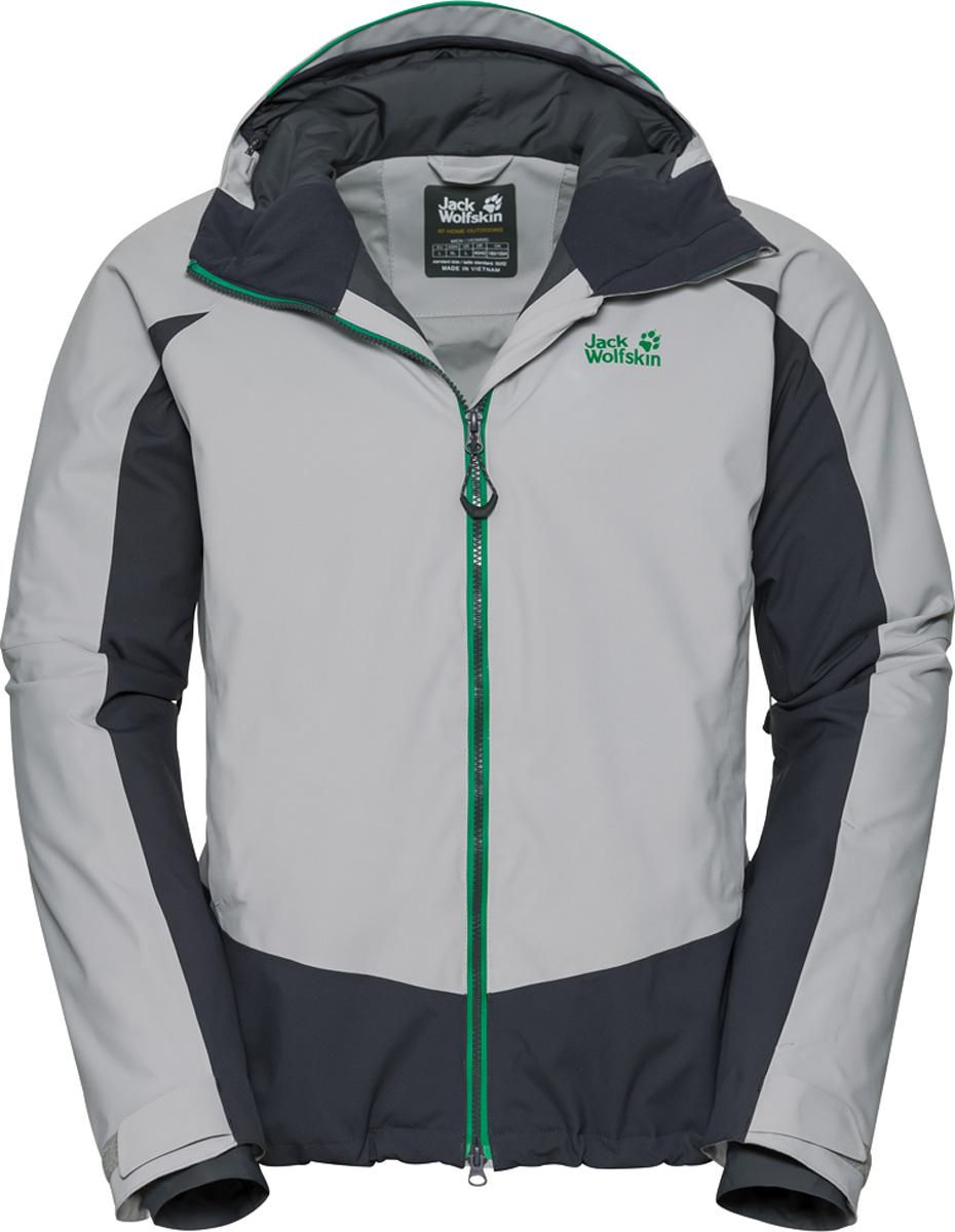 Куртка мужская Jack Wolfskin Exolight Base Jacket, цвет: светло-серый. 1109751. Размер XL (52)1109751Модная мужская куртка Jack Wolfskin изготовлена из ветронепроницаемой дышащей ткани - высококачественного полиэстера с синтетическим утеплителем. Несмотря на свою невероятную легкость, инновационный синтетический утеплитель эффективно согреет вас даже в условиях арктического холода. А специальный внешний слой из материала обеспечит максимальную защиту от снега, ветра и дождя. Модель с воротником стойка, капюшоном и длинными рукавами застегивается на молнию. Изделие имеет вшитый капюшон с возможностью регулировать внутренний объем и область обзора, вентиляционные молнии в подмышечной области, 2 завышенных кармана на бедрах, 2 внутренних кармана, карман для горнолыжного абонемента, плотно облегающие эластичные манжеты, съемная снежная юбка, соединительные петли для совместимых брюк, салфетка для защитных очков с указаниями на случай ЧС, система RECCO (РЕККО): интегрированный датчик для поиска спасательными службами, светоотражающие элементы.
