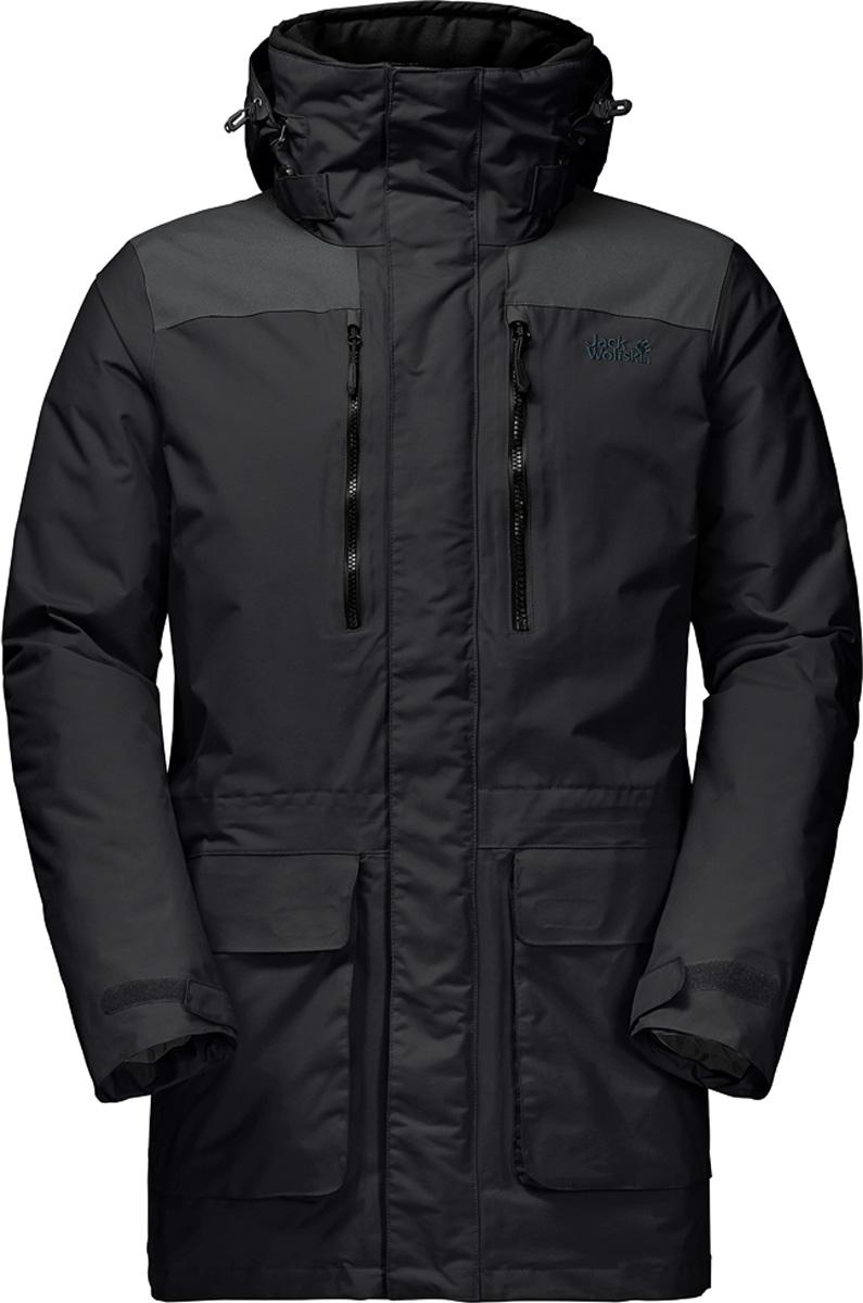 Куртка мужская Jack Wolfskin Yukon Parka, цвет: черный. 1109771-6000. Размер S (42)1109771Невероятно прочная и очень теплая треккинговая парка от Jack Wolfskin «Yukon Parka» будет согревать вас всю зиму. Двигаясь к северу от реки Юкон, в компании палатки, рюкзака и собачьей упряжки, вы обязательно оцените тепло и защиту, которые дарит вам Yukon Parka (Юкон Парка). Суперпрочная парка не боится испытаний в диких условиях. Куртке Yukon Parka (Юкон Парка) не страшны ни канадские, ни скандинавские зимы. Даже если весь день шел дождь, вы вернетесь в лагерь вечером абсолютно сухими. В плечевой зоне модели Yukon (Юкон) имеются вставки из суперпрочного и абсолютно водонепроницаемого материала Texapore O2+ Oxford (Тексапор 02+ Оксфорд), который не позволит вам намокнуть даже с тяжелым рюкзаком за плечами.Супертеплый и нечувствительный к влаге синтетический утеплитель синтетический утеплитель Microguard (Майкрогард) делают парку фантастически теплой, и она сохраняет свои теплозащитные свойства даже во влажном состоянии. Модель Yukon (Юкон) также имеет высокий воротник, который можно уютно подоткнуть вокруг шеи или спрятать в него капюшон.