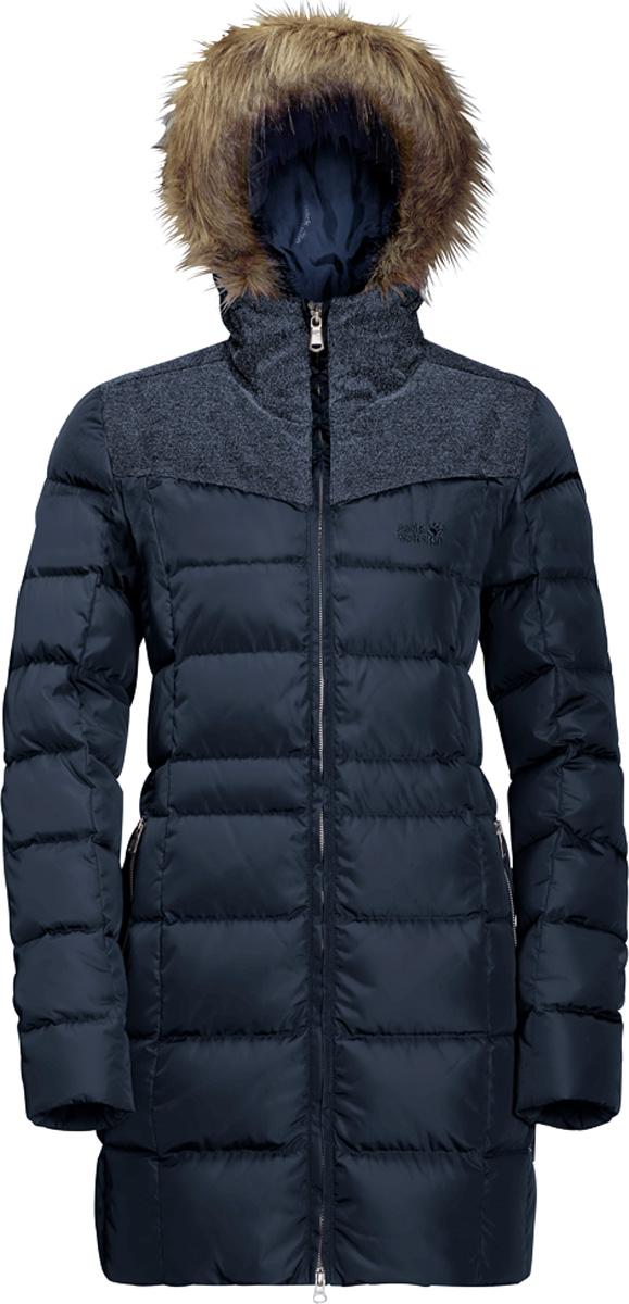 Купить Пуховик женский Jack Wolfskin Baffin Island Coat, цвет: темно-синий. 1203331. Размер XL (52/54)
