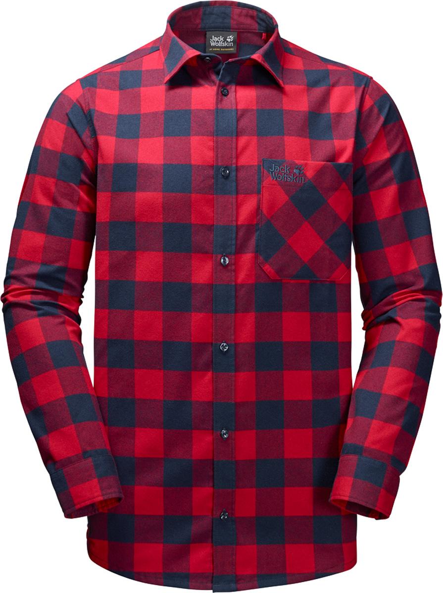 Рубашка мужская Jack Wolfskin Red River Shirt, цвет: красный. 1402551-7286. Размер M (44/46)1402551Прочная клетчатая рубашка Jack Wolfskin Red River Shirt в стиле траппер изготовлена из практичной и прочной фланели с влагоотводящими свойствами. Модель прямого кроя с длинными рукавами с манжетами на пуговицах застегивается на пуговицы.Теплый материал очень приятен на ощупь и не требует особого ухода. А еще он прекрасно дышит, что делает рубашку идеальной для активного отдыха на открытом воздухе зимой. Нагрудный карман с клапаном с легкостью вместит ваш навигатор, смартфон или энергетический батончик.
