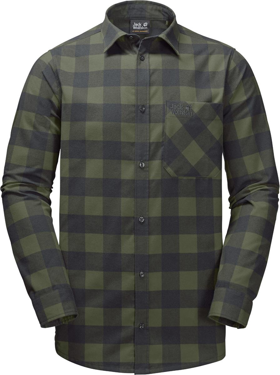 Рубашка мужская Jack Wolfskin Red River Shirt, цвет: зеленый. 1402551-7825. Размер M (44/46)1402551Прочная клетчатая рубашка Jack Wolfskin Red River Shirt в стиле траппер изготовлена из практичной и прочной фланели с влагоотводящими свойствами. Модель прямого кроя с длинными рукавами с манжетами на пуговицах застегивается на пуговицы.Теплый материал очень приятен на ощупь и не требует особого ухода. А еще он прекрасно дышит, что делает рубашку идеальной для активного отдыха на открытом воздухе зимой. Нагрудный карман с клапаном с легкостью вместит ваш навигатор, смартфон или энергетический батончик.