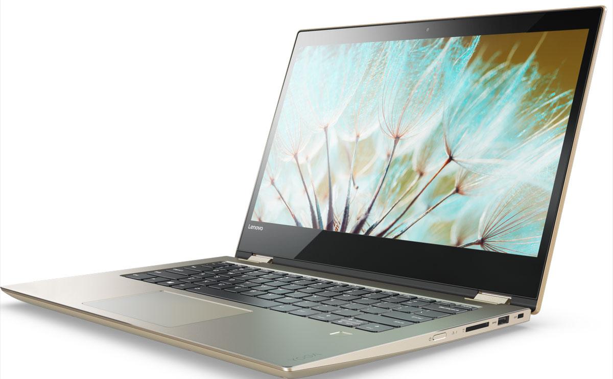 Lenovo Yoga 520-14IKB, Gold (80X8001URK)80X8001URKМодель Lenovo Yoga 520 имеет элегантный алюминиевый корпус. Четко очерченные скошенные края выглядят лаконично и современно, а обновленная сенсорная панель обеспечивает комфорт и улучшает управление устройством.Lenovo Yoga 520 — это больше, чем обычный ноутбук: он подстраивается под ваши задачи. Благодаря прочному шарнирному механизму поворота экрана на 360° вы с легкостью можешь перевести его в режим планшет для веб-серфинга или в режим презентация для просмотра потокового телешоу. Столь гибкая конструкция поможет вам найти идеальный угол обзора в любой ситуации.С высокоточным стилусом Lenovo Active Pen с функцией предотвращения случайного срабатывания сенсорной панели делать записи в ноутбуке так же просто, как и обычной ручкой на бумаге. Функции центра Windows Ink, расположенного прямо на панели задач, открывают новые возможности воплощения твоих идей в реальность. Создавайте записи, которые с помощью Cortana синхронизируются и передаются на другие твои устройства, или придумывайте и рисуйте от руки открытки ко дню рождения.Lenovo Yoga 520 обладает серьезной вычислительной мощью благодаря высокопроизводительному процессору Intel Core серии i и гибридной системе хранения данных на базе жесткого диска SATA 1 ТБ. Вы сможете по достоинству оценить высокую скорость запуска системы и передачи данных. А благодаря большому объему оперативной памяти можно запускать сразу несколько приложений, ресурсоемких программ и файлов — без малейших задержек.Воспользуйтесь персональным помощником Cortana, который будет отвечать на ваши вопросы, устанавливать напоминания и узнавать больше о ваших предпочтениях с каждым днем. Cortana взаимодействует с множеством приложений, чтобы обеспечить тебя необходимой информацией в нужное время. Благодаря поддержке всех устройств Windows 10, Cortana позволяет эффективно организовать работу.Ввод паролей — недостаток систем предыдущего поколения. С опциональным сканером отпечатков пальцев вход в сис