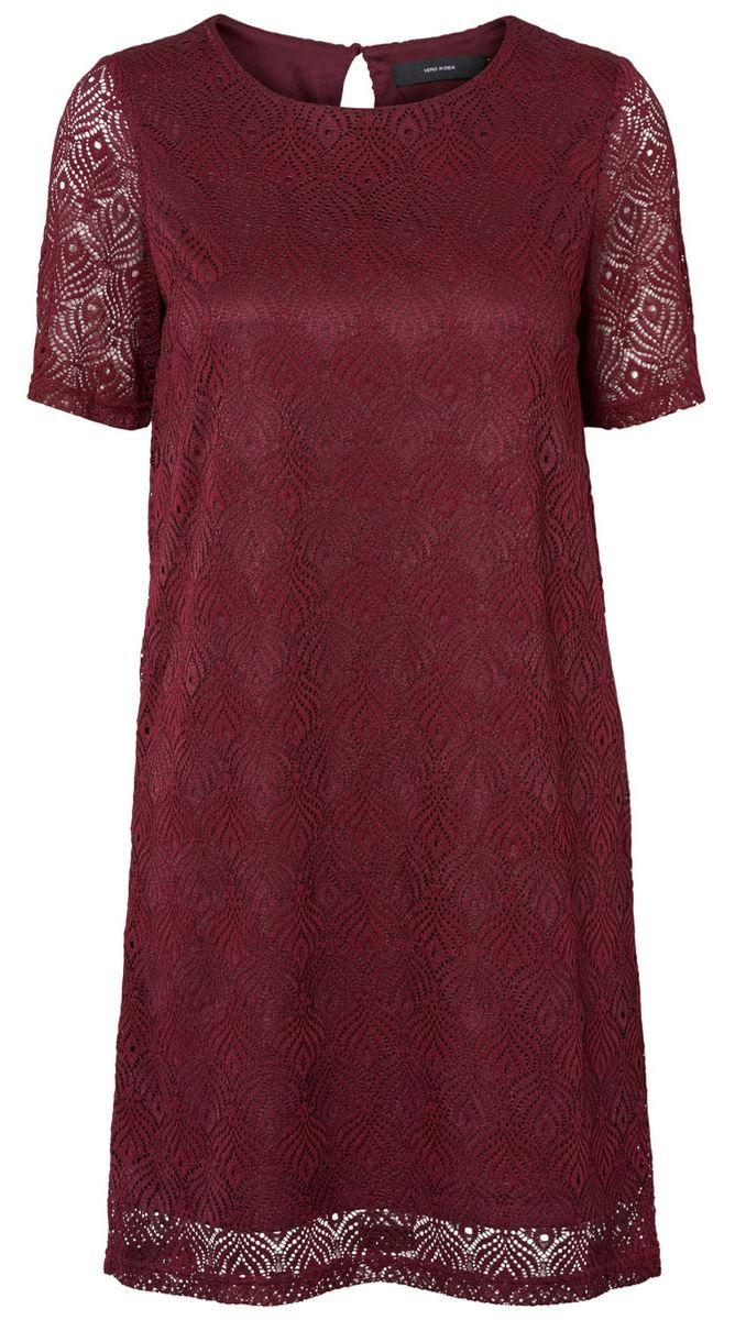 Платье женское Vero Moda, цвет: бордовый. 10182882_Zinfandel. Размер L (48)10182882_ZinfandelСтильное платье Vero Moda выполнено из высококачественного материала. Модель свободного кроя с круглым вырезом горловины и короткими рукавами подчеркнет вашу женственность. Платье на спинке застегивается на пуговицу.