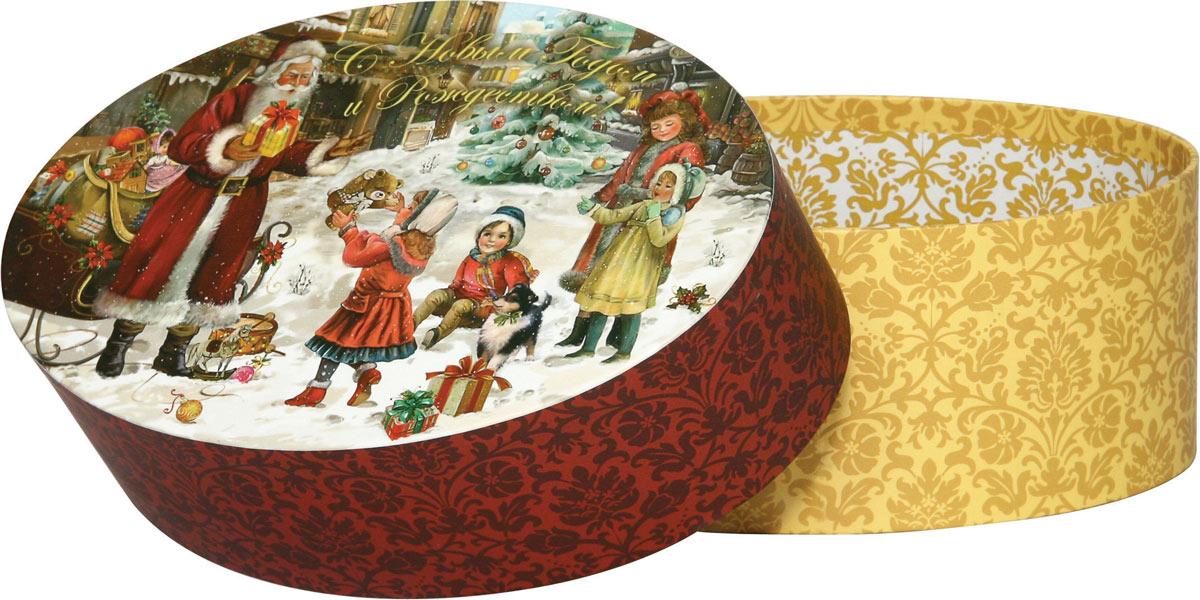 Коробка подарочная Правила Успеха На радость детям, 18 х 12 х 7 см4610009210742Подарочная овальная коробка Правила Успеха На радость детям изготовлена из плотного картона с матовым покрытием. Крышка коробки оформлена изображением Деда Мороза, раздающего подарки детям, и надписью: С Новым годом и Рождеством!. Изделие внутри и снаружи украшено винтажным узором. Прекрасно подойдет для конфет и различных небольших сувениров.