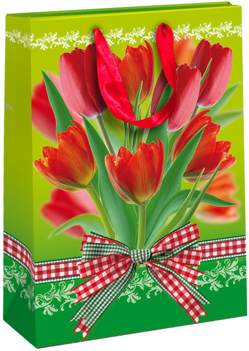Пакет подарочный Тюльпаны, 25 х 35 х 9 см пакет подарочный правила успеха щелкунчик 30 х 38 см