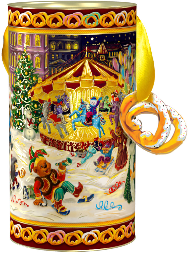 Тубус новогодний Конфетки-бараночки 12*22 см4610009211855