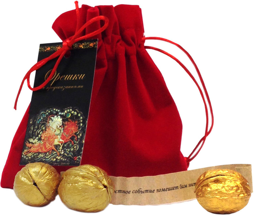 Мешочек подарочный Правила Успеха, с тремя орешками с предсказаниями4610009213422Подарок Правила Успеха состоит из бархатного мешочка и трех золотых орешек с предсказаниями.Производитель нашел и отобрал лучшие грецкие орехи, очистил скорлупу от ореха, положил туда записку с пожеланием и покрасил золотой краской.