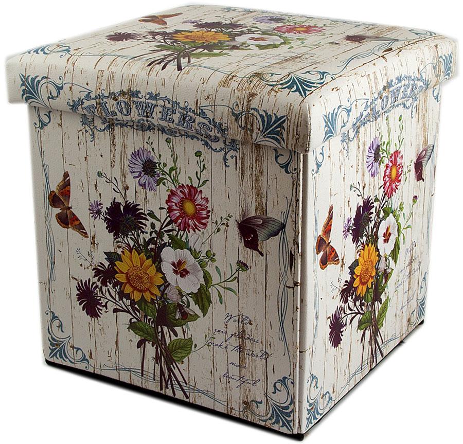 Пуф складной, с ящиком для хранения, цвет: молочный, мультиколор, 31 х 31 х 31 см. 138914
