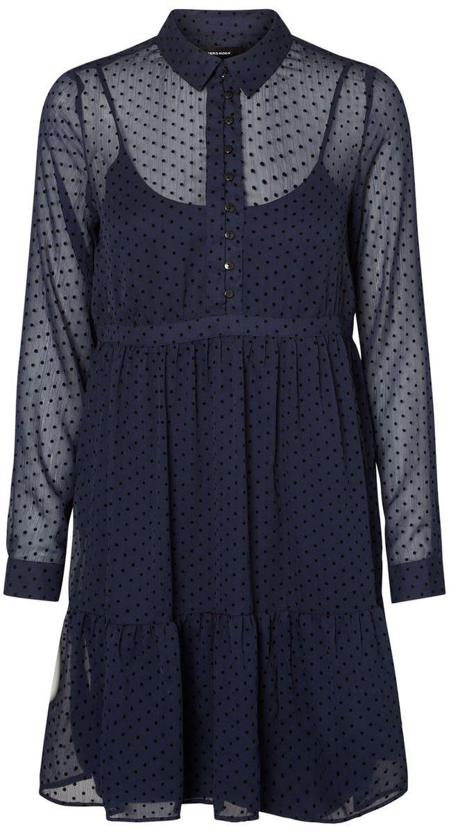 Платье Vero Moda, цвет: синий. 10186028_Navy Blazer. Размер M (46) плам блоссом дизайн кожа pu откидной крышки кошелек карты чехол для lg k7 lg m1