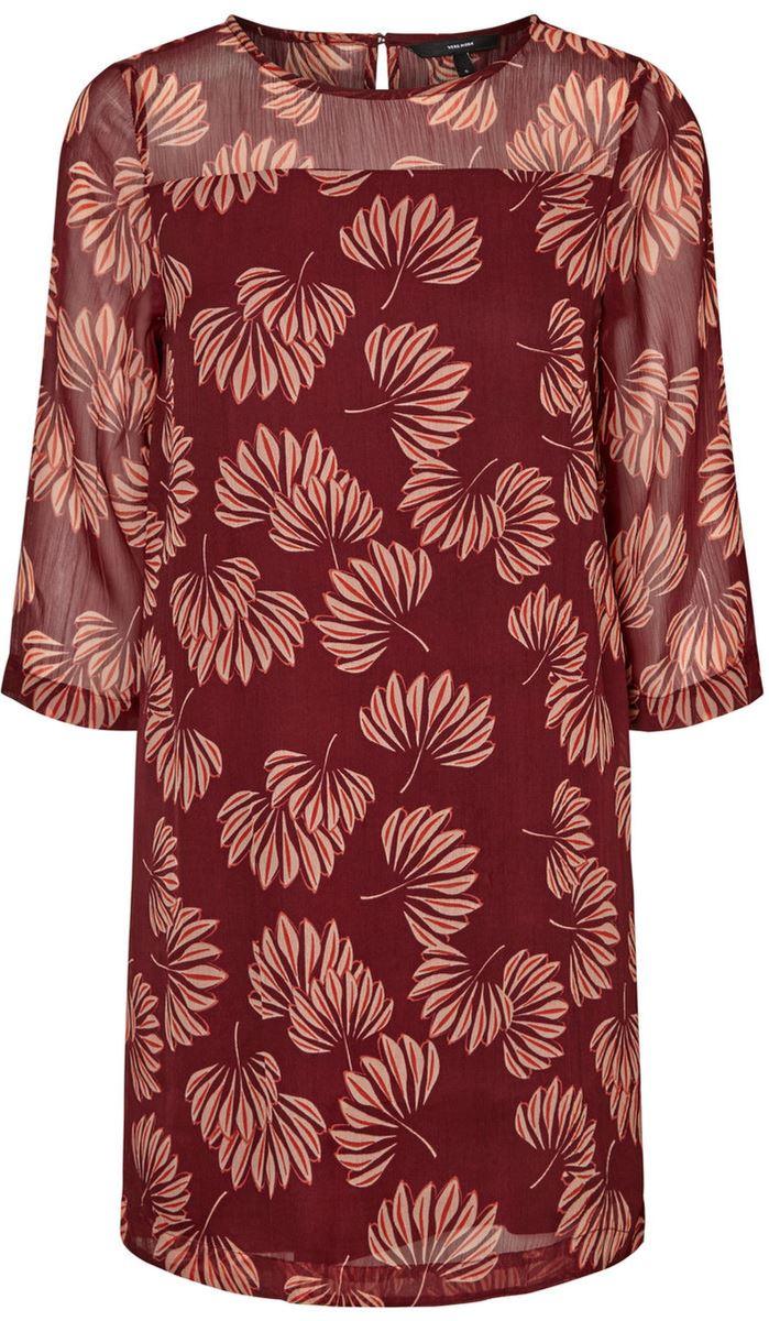 Платье Vero Moda, цвет: бордовый. 10186282_Zinfandel. Размер XS (40/42)