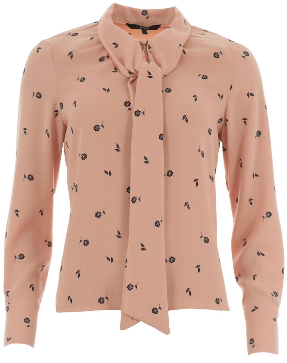 Блузка женская Vero Moda, цвет: бежево-розовый. 10186375_Rose Cloud. Размер XS (40/42)10186375_Rose CloudСтильная женская блузка, выполненная из 100% полиэстера, идеально сочетает в себе стиль и комфорт. Модель свободного покроя с длинными рукавами и отложным воротником. Блузка спереди на горловине застегивается на пуговицу.