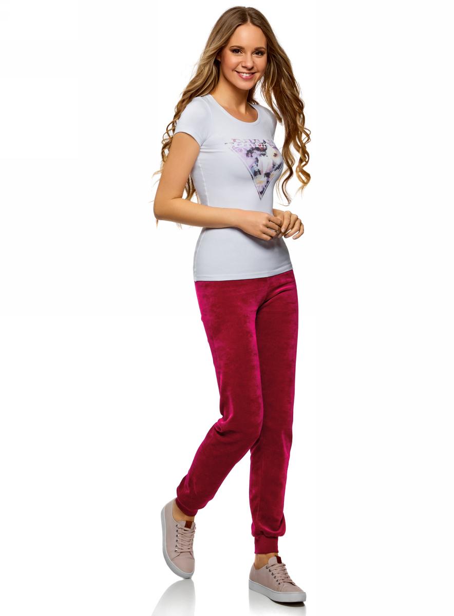 Брюки спортивные женские oodji Ultra, цвет: светло-бордовый. 16701051B/47883/4901N. Размер XXS (40) брюки спортивные женские oodji ultra цвет темно синий 16701056b 47883 7900n размер xxs 40