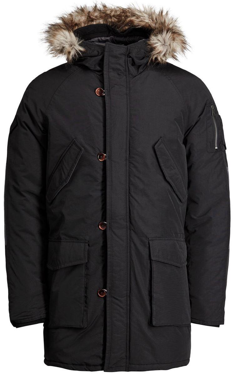 Куртка муж Jack & Jones, цвет: черный. 12123692_Black. Размер M (46/48)12123692_Black