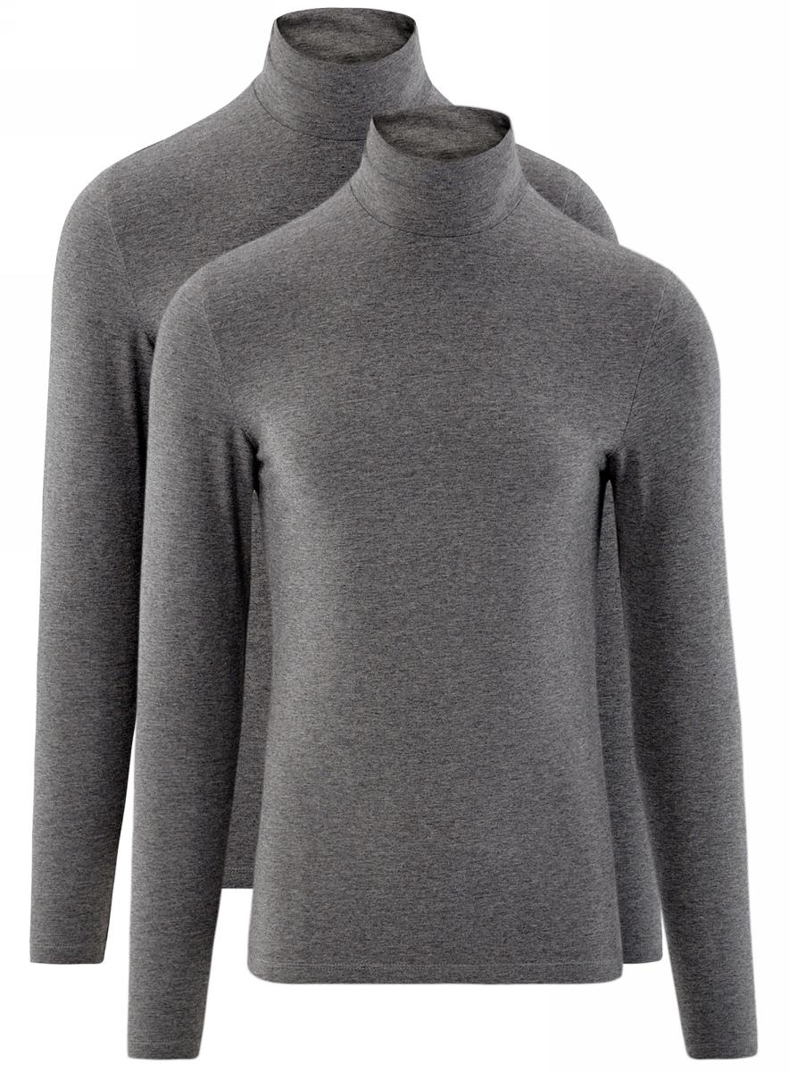 Водолазка мужская oodji Basic, цвет: темно-серый меланж, 2 шт. 5B513001T2/46737N/2500M. Размер S (46/48)5B513001T2/46737N/2500MМужская водолазка от oodji выполнена из эластичного хлопкового трикотажа. Модель с длинными рукавами и воротником-гольф. В комплект входят две водолазки.