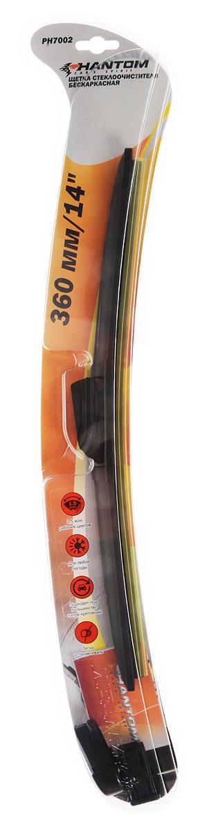 Щетка стеклоочистителя Phantom, бескаркасная, 360 мм, 1 шт щетка стеклоочистителя phantom гибридная 36 см 1 шт
