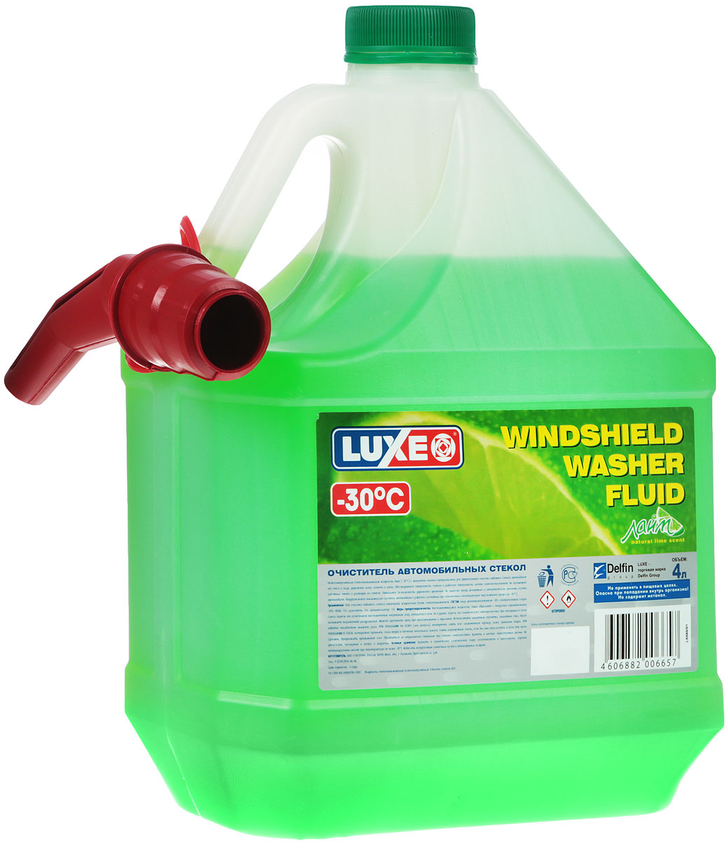 Омыватель стекол LUXE, -30°С, 4 л680Низкозамерзающий омыватель стекол LUXE с ароматом лимона предназначен для эффективной очистки лобового стекла автомобиля от снега и льда, дорожной пыли, копоти и грязи. Обезжиривает поверхность стекол и рабочую поверхность щеток стеклоочистителя. Не оставляет масляных пятен и разводов на стекле. Повышает безопасность дорожного движения. Не наносит вреда резиновым и металлическим деталям кузова автомобиля. Поддерживает омывающую систему автомобиля в рабочем состоянии при пониженных температурах окружающей среды (до -30°С). Чистящая способность по стеклу: не менее 85%. Температура кристаллизации не выше: -30°С.